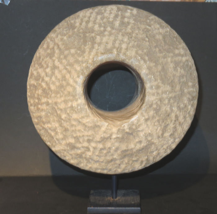 cannonwheel (1) - Steen - Kanon - Very rare Chinese Cannon wheel with certificate. 12th Century. - China - 12e eeuw