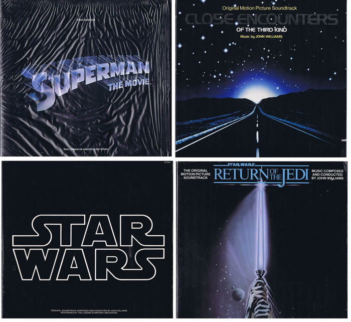JOHN WILLIAMS (lot of 4 Soundtrack LPs)  - 1. Superman (The Movie) (1978) 2. Starwars (1977) 3. Return Of The Jedi (1983) 4.  - 4. Close Encounters Of The Third Kind (1977) | 2x 2LP-set plus 2x LP-albums (in prachtig - 1977/1983