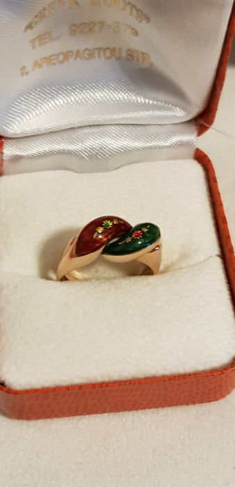 Green and Red  Enamel Flowers Double  Ring - 14 K Ouro - Anel