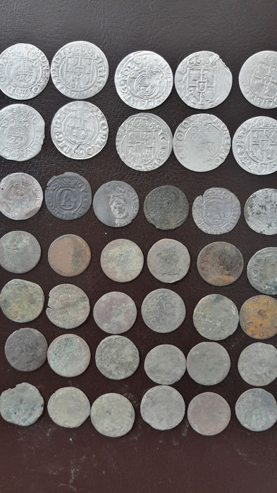 Lithuania, Poland, Sweden - Lot various coins 16th and 17th century (40 pieces)