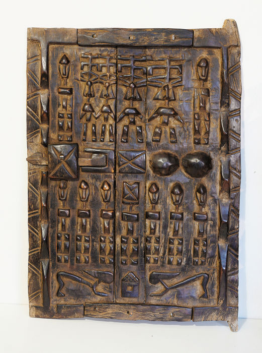 Deur (1) - hard hout, Hout - Granary, Tribal with Figures - Dogon - Mali
