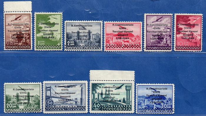 Ljubljana 1941 - Occupations - airmail complete set of 10 overprinted values - edition of 700 - - Sassone N. S.10