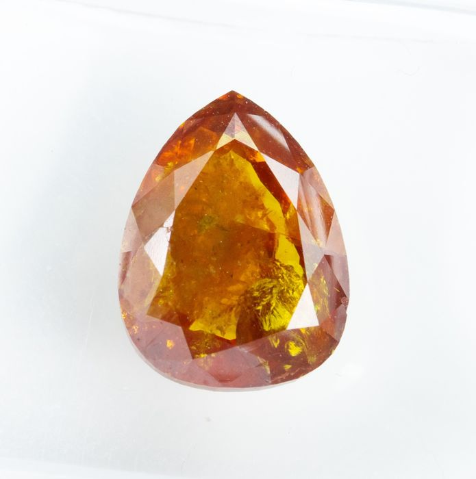 Diamond - 2.78 ct - Natural Fancy VIVID Brownish Orange - I3  *NO RESERVE*