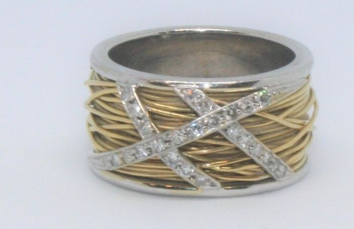 N/A - 19,2 carats Or blanc, Or jaune - Bague - Diamants