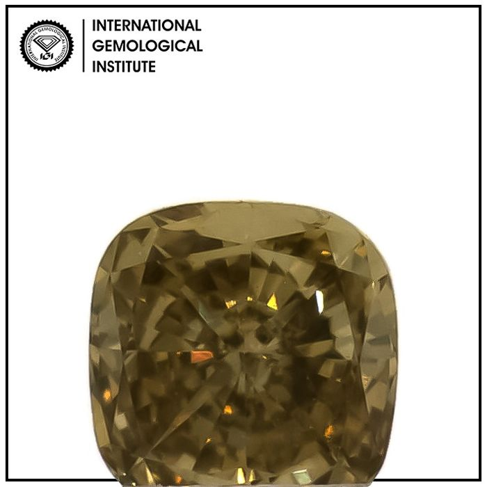 Diamond - 0.32 ct - Cushion - fancy yellow brown - VS1
