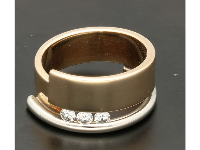 14 kt. Bicolour, Yellow gold - Ring Diamond