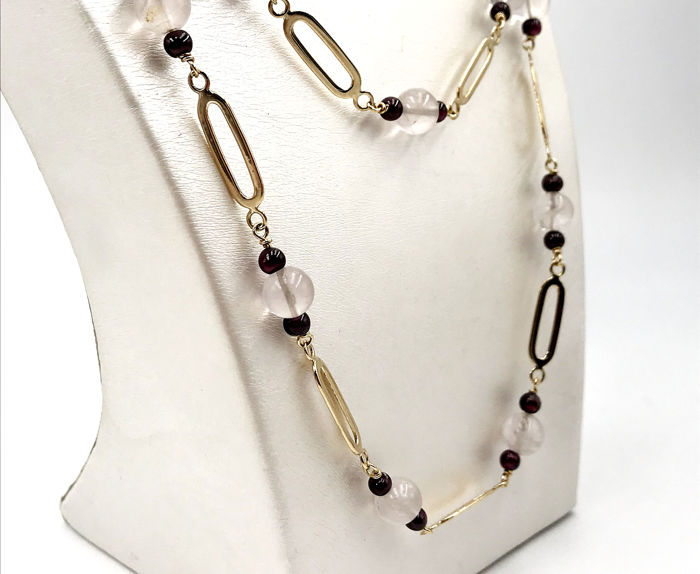 18 kt. Gold - Necklace Rose quartz - Garnets