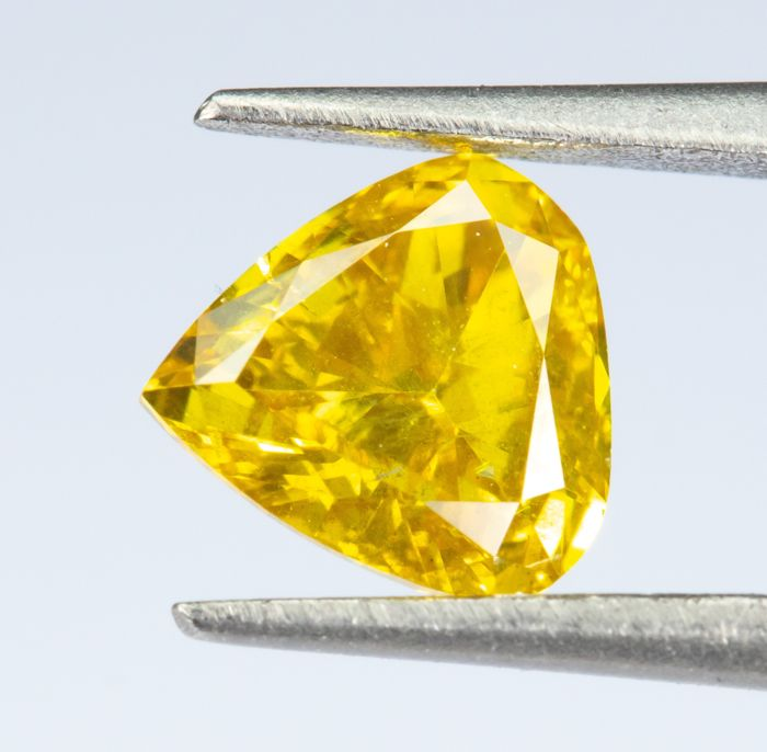 Diamant - 0.36 ct - Natural Fancy VIVID Yellow - SI2  *NO RESERVE*