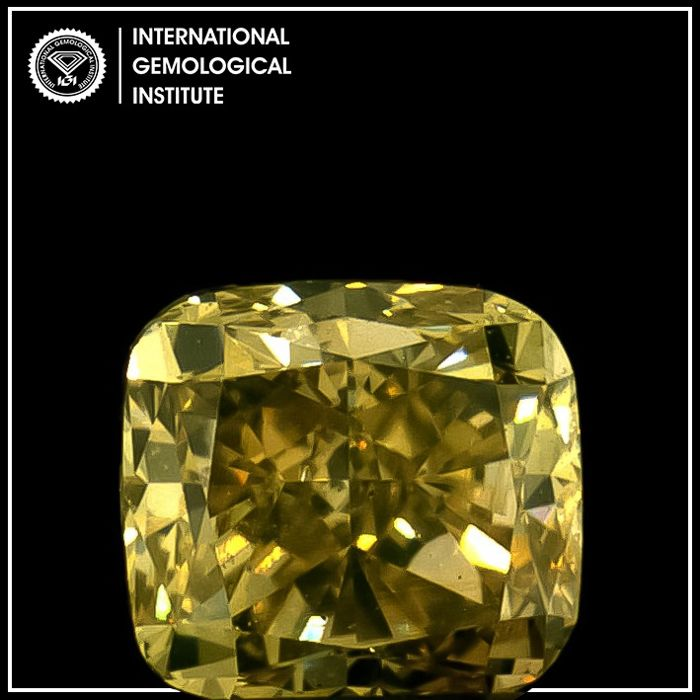 Diamante - 0.50 ct - Cojín - fancy brown yellow - IGI Antwerp - No Reserve Price, VS2
