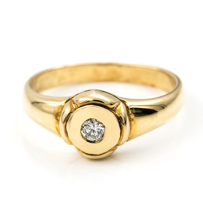 18 kt Gold - Ring - 0.10 ct Diamant