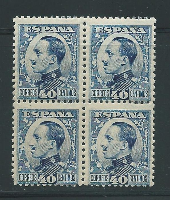 Spanje 1930/1931 - Alfonso XIII. 40 céntimos blue, key value in block of 4 - Edifil 497A