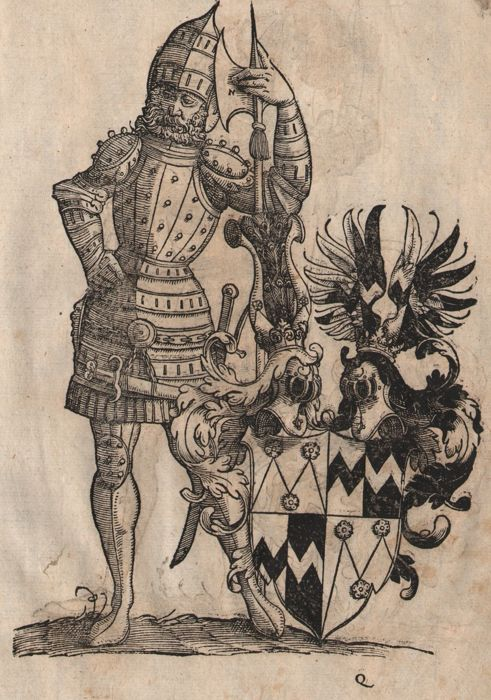 Christoph Weiditz II (1517 - 1572) - Knights in armor - Two  Renaissance woodcuts
