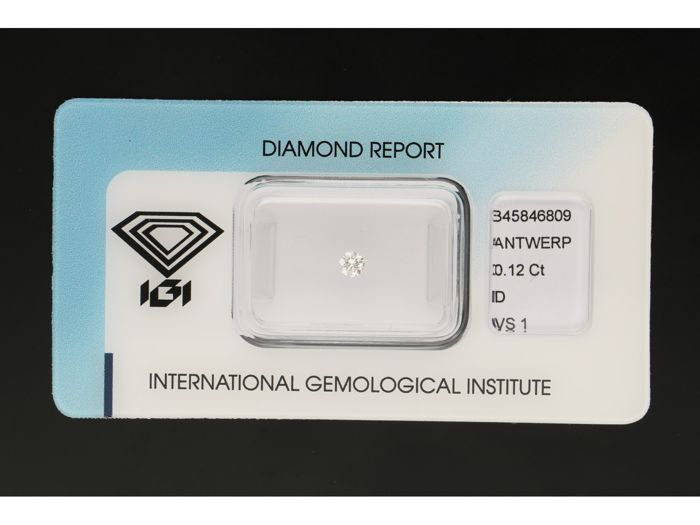 1 pcs Diamond - 0.12 ct - Brilliant - D (colourless) - VS1
