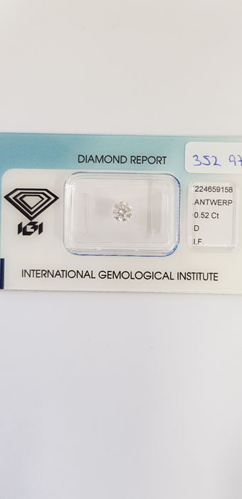 1 pcs Diamond - 0.52 ct - Briliant - D (fără culoare) - IF (perfect)