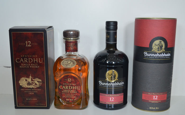 Cardhu 12 years old & Bunnahabhain 12 years old 12 years old - 0,7 l - 2 flaschen