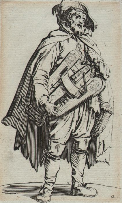 Jacques Callot ( 1592-1632 ) - The hurdy-gurdy player - Original