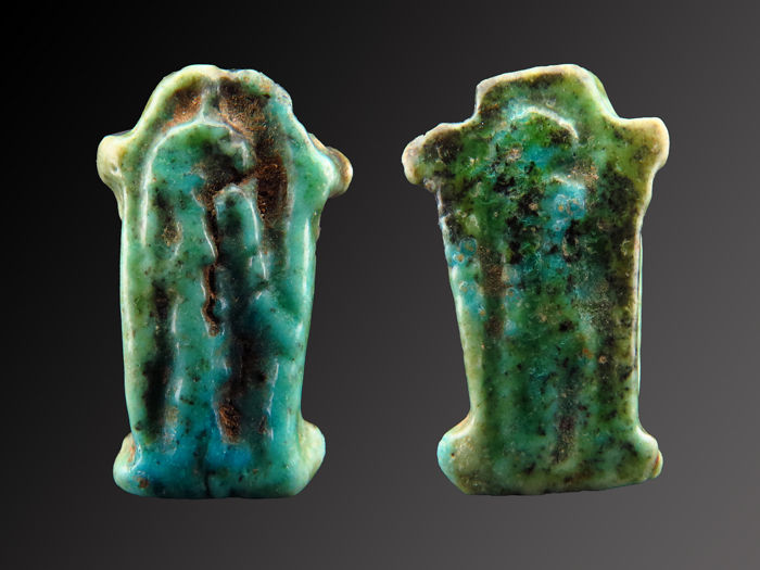 Ancient Egyptian faiance Shrine or Sechmet amulet - 19×12×4 mm - (1)