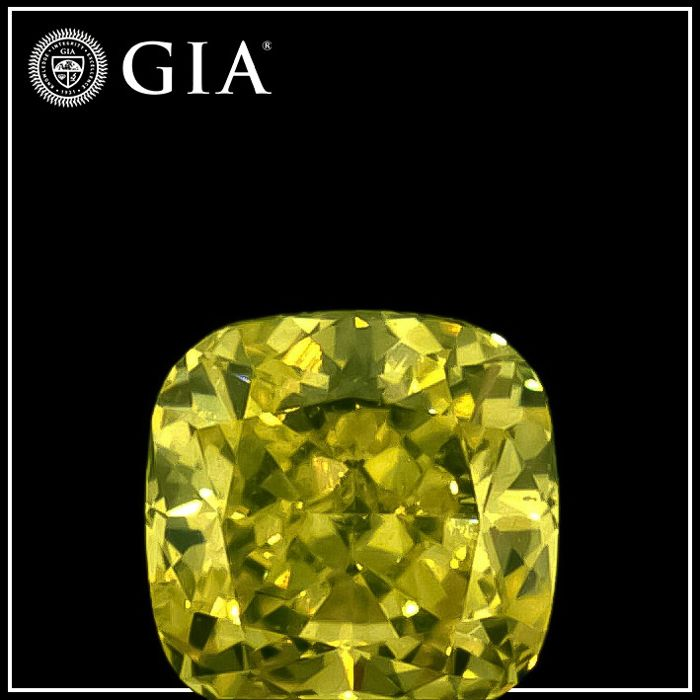 Diamante - 0.23 ct - Cojín - fancy intens greenish yellow - SI1