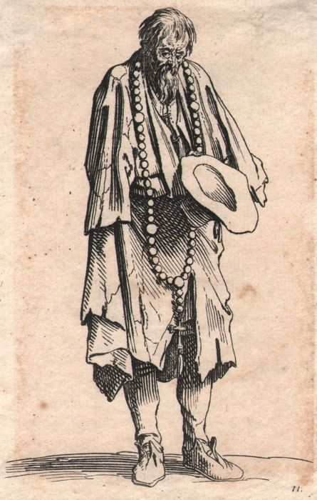 Jacques Callot ( 1592-1632 ) - Beggar in rags with large rosary around his neck  - Original
