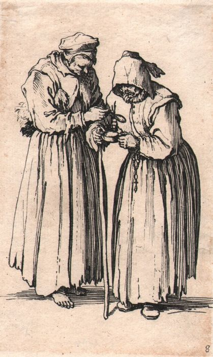 Jacques Callot ( 1592-1632 ) - Two women in rags - Original