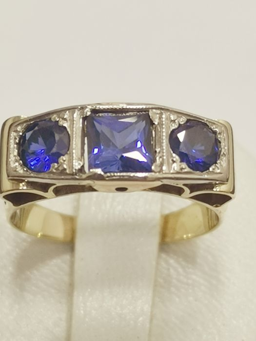 14 kt. Platinum, Yellow gold - Ring - 1.60 ct Sapphire
