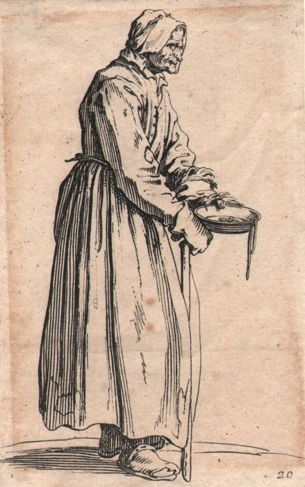 Jacques Callot ( 1592-1632 ) - Female beggar  holding a plate with a few coins - Original