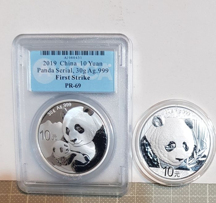 Lot of 5-2019 30 gram Chinese Silver Panda 10 Yuan .999 Fine BU