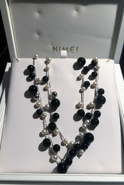 Nimei - 18 kt. White gold - Necklace Pearl - Black agate