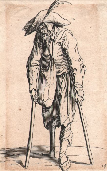 Jacques Callot ( 1592-1632 ) - Beggar with a wooden leg - Original