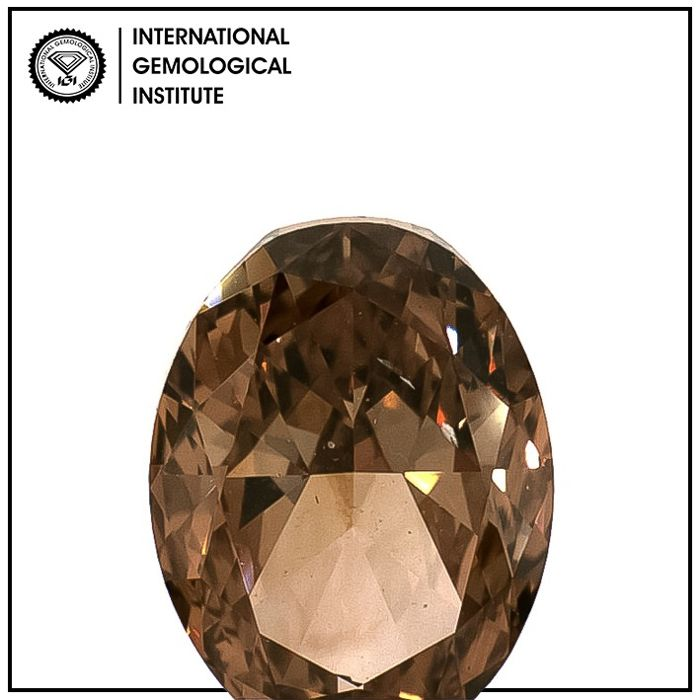 Diamante - 1.50 ct - Ovalado - fancy dark orange brown - SI1