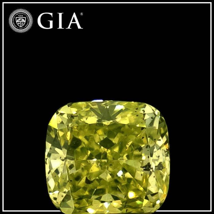 Diamond - 0.24 ct - Cushion - fancy intens green yellow - I1