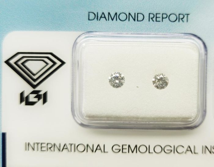 2 pcs Diamonds - 0.28 ct - Round - F - I1