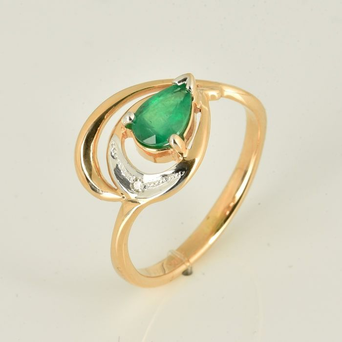 14 kt. Pink gold, White gold - Ring - 0.67 ct Emerald - Diamond
