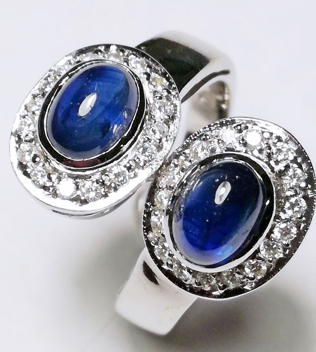 18 kt. White gold - Ring - 3.20 ct Sapphire - Diamonds
