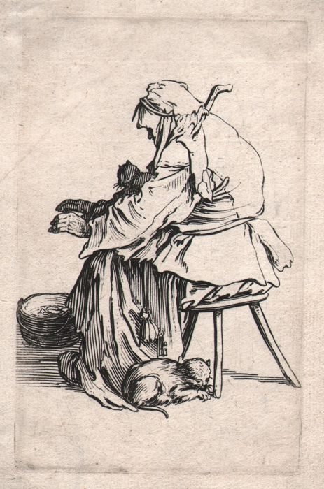Jacques Callot ( 1592-1632 ) - A woman warming her hands over a brazier - First state Original