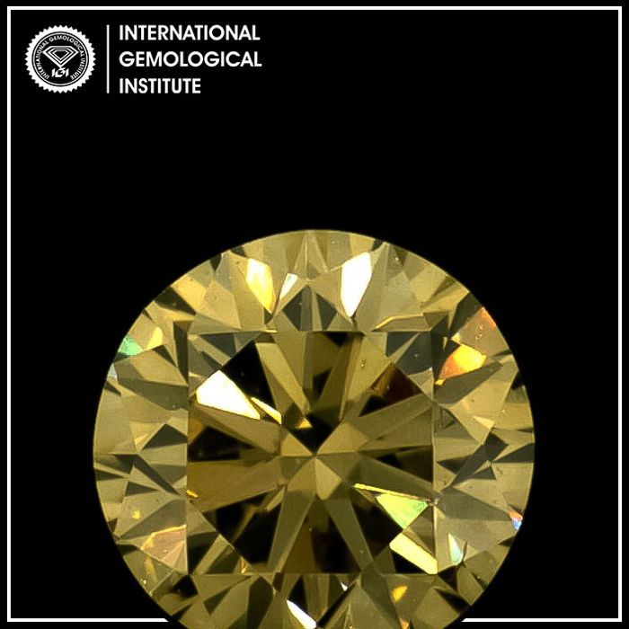 Diamond - 0.33 ct - Round - fancy brown yellow - VS2