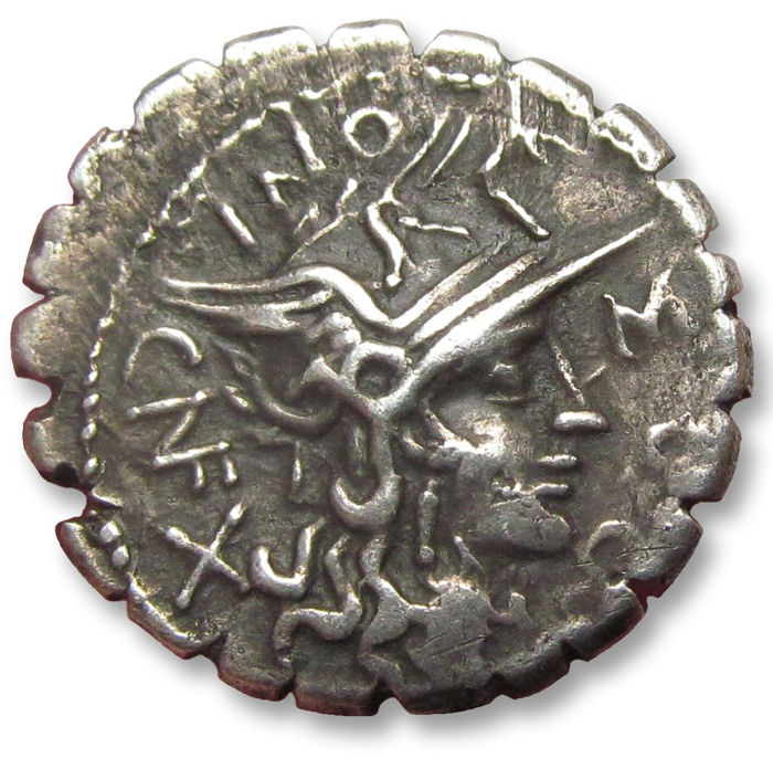 Roman Republic - AR Denarius, L. Pomponius Cn. F., L. Licinius Crassus and Cn. Domitius Ahenobarbus, 118 B.C. Minted at the newly-founded city of Narbo (Colonia Narbo Martius), first Roman settlement in France - Silver