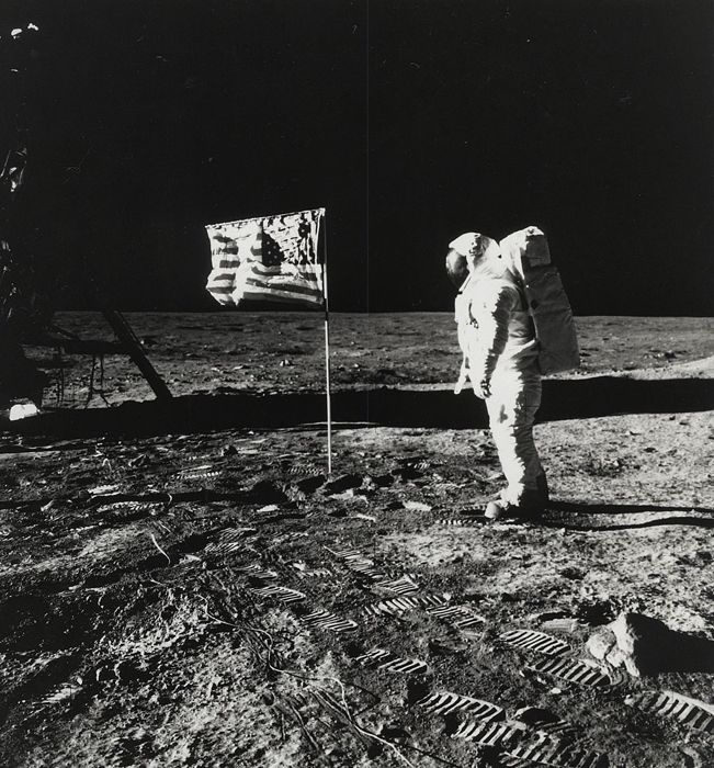 NASA - Buzz Aldrin beside American flag on the luna surface, Apollo 11 Mission, 1969