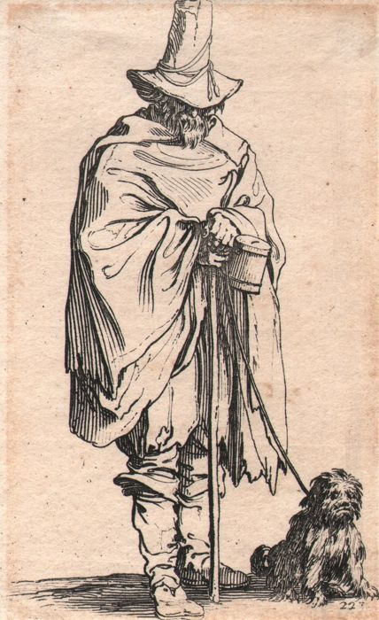 Jacques Callot ( 1592-1632 ) - Man with tall Italian hat wrapped in cape - Original