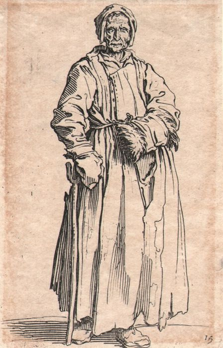 Jacques Callot ( 1592-1632 ) - Standing woman in rags with left hand in muff - Original