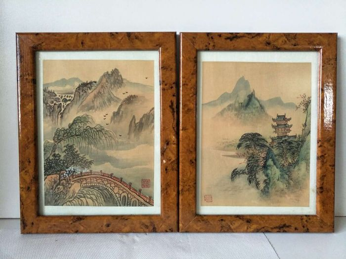 Framed painting (2) - Silk - scene - China - Second half 20th century