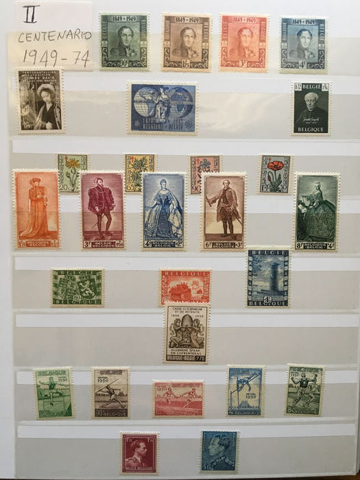 België - Collection of stamps + miniature sheets
