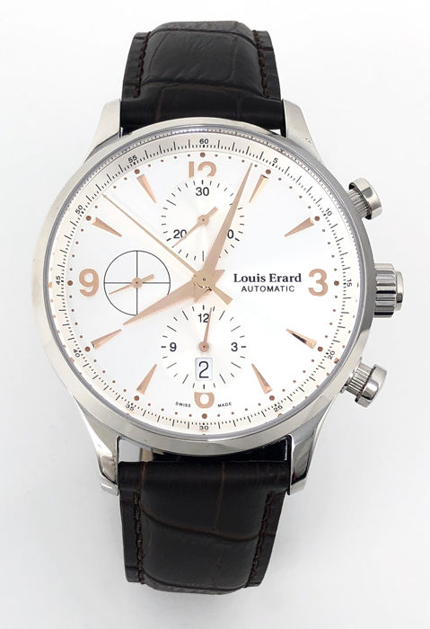 Louis Erard - Automatic Chronograph Watch 1931 Silver Rose Gold Tone - 78225AA11.BDC02 - Heren - BRAND NEW
