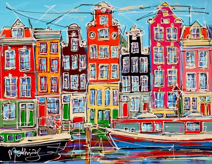 Mathias - Canal of Amsterdam, colored houses and two boats