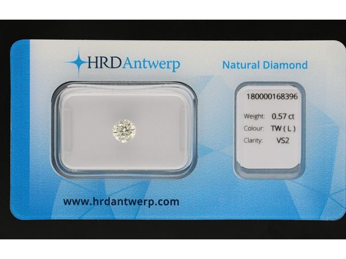 1 pcs Diamant - 0.57 ct - Briljant - L - VS2