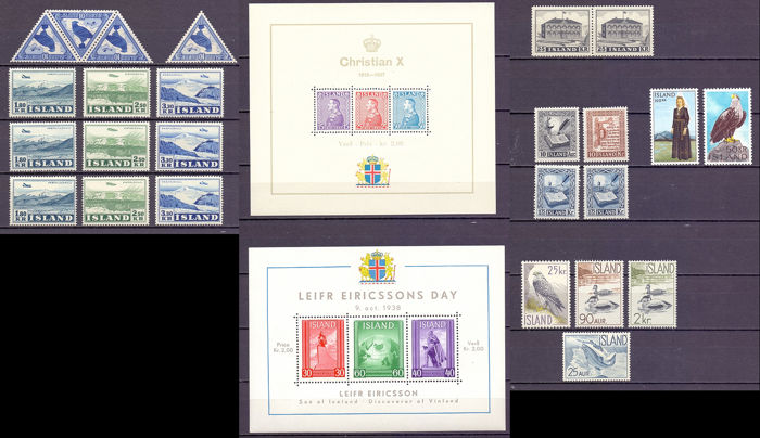 IJsland 1948/1956 -  group of series from the 1950s, including airmail ,triangles and sheetlets-  - Yvert between 208 & 268