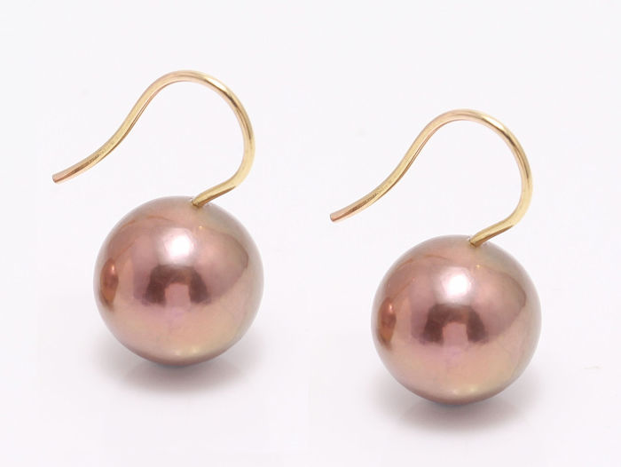 NO RESERVE PRICE - 18 kt. Yellow Gold - 12x13mm Beautiful Colour Cultured Pearls - Earrings