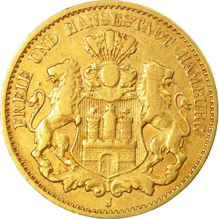 Germany - Hamburg - 10 Mark 1875 - Gold