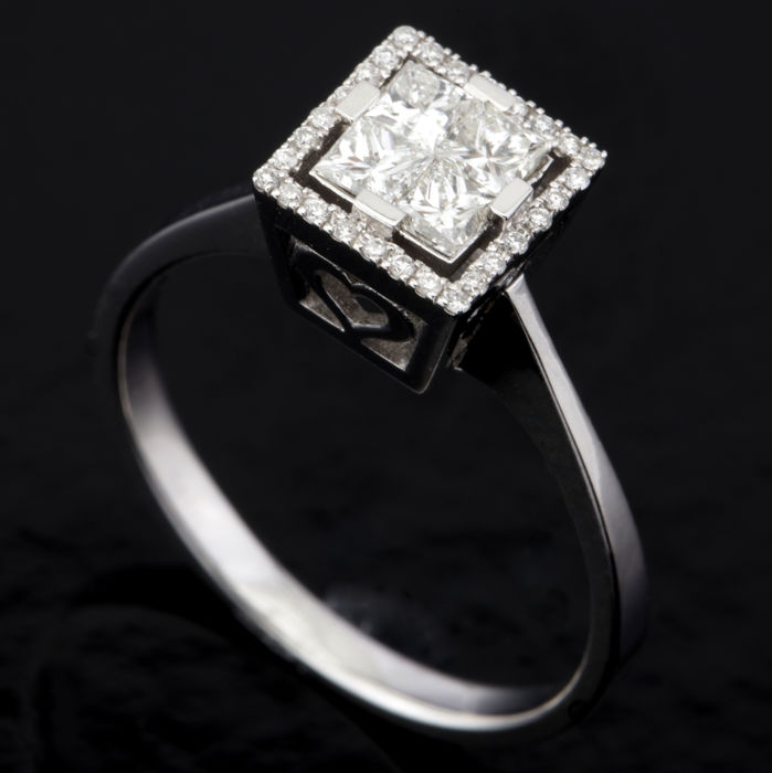 14 quilates Oro blanco - Anillo - 0.47 ct Diamante