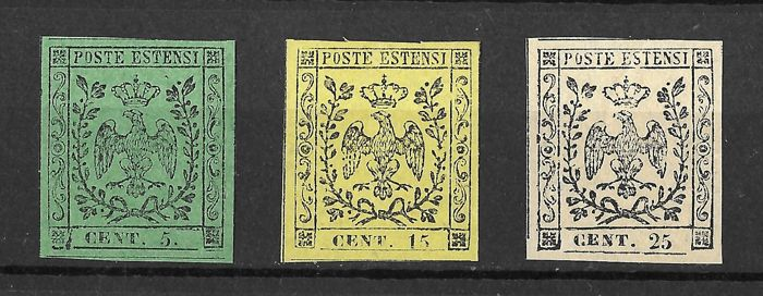 Modena 1852 - 5 cents green with dot, 15 cents yellow, 25 cents chamois - Sassone n. 3-4-7